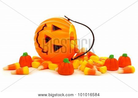 Halloween Jack o Lantern candy collector with spilling candy