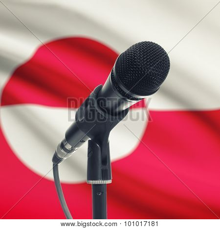 Microphone On Stand With National Flag On Background - Greenland