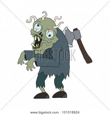 Zombie Man Cartoon Character.
