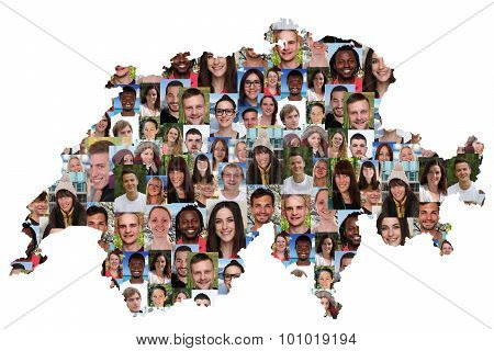 Switzerland Map Multicultural Group Of Young People Integration Diversity