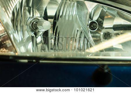 Closeup Of Car Headlight Detail