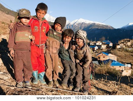 Group Of Unidentified Nepalese Children In Western Nepal