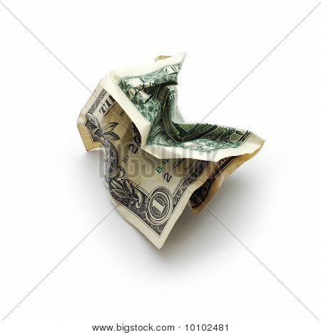 crinkled dollar bill