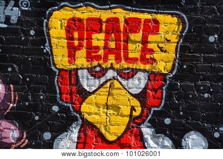 Street art Montreal bird peace