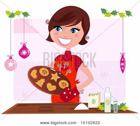 Cooking mother preparing christmas cookies in kitchen