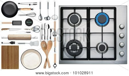 Kitchen Utensils On White Background Top View