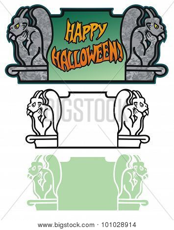 Halloween border with Gargoyles