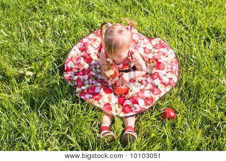 Girl Sitting On The Grass With Apples