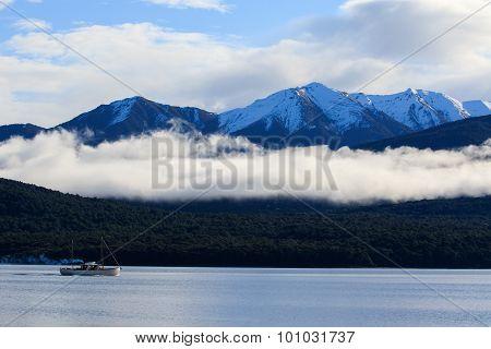 Beautiful Sceninc Of Lake Te Anau South Island New Zealand