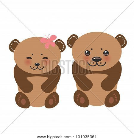 Kawaii funny brown bears girl and boy white muzzle with pink cheeks and big black eyes. Vector