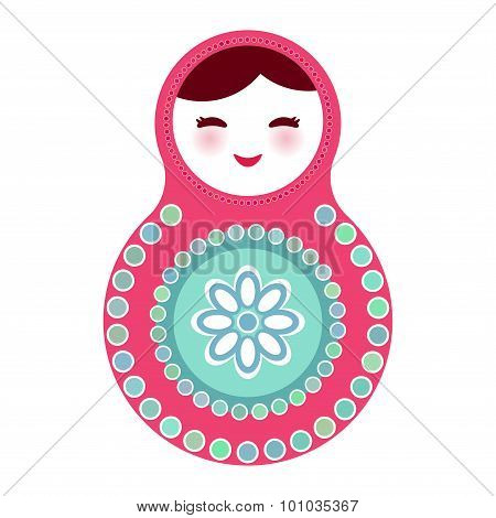 Russian dolls matryoshka on white background, pink blue colors. Vector