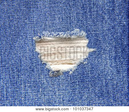 Blue Denim Jeans In Bright Color Tear Up Surface Condition Present The Old Damaging Fabric Damaged D