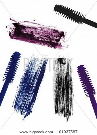 Stroke (sample) Of Blue, Violet And Black Mascara, Isolated On White Macro