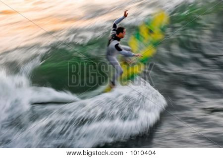 Surfer Blur: Yellow & Green Board