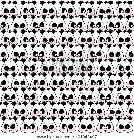 Seamless Pattern Of Funny Muzzles Pandas.