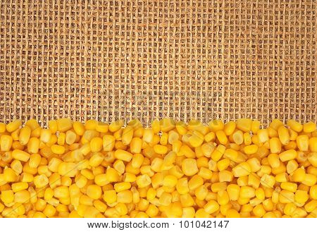 Yellow Corn Gran Over Linen Texture Background