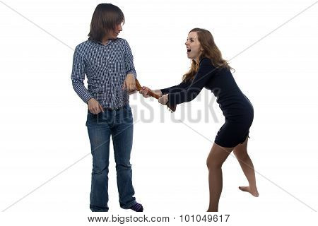 Aggressive young woman and man
