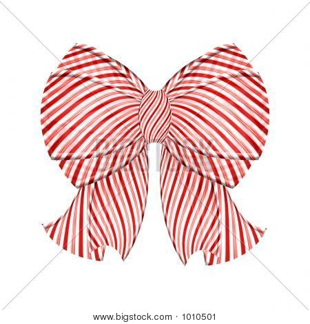 Puffy Candy Cane Gift Bow With Ribbons