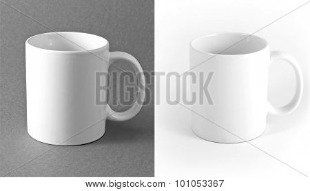 White Cup On Gray And White Background.