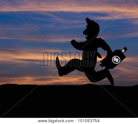 Cartoon Business Silhouette Concept,businessman Running On The Way To Success With Briefcase