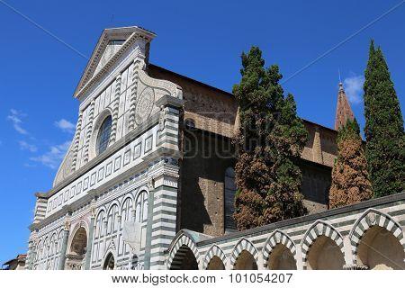 Florence Facade Of Church Called Santa Maria Novella Near The Train Station Of Florence