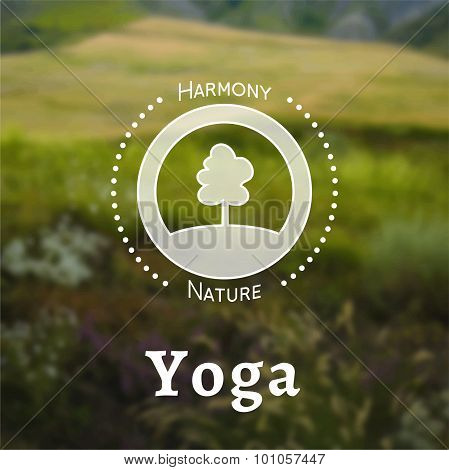 Yoga poster on a nature blurred background.