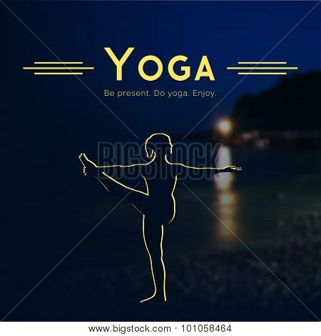 Poster for yoga class with a night sea.