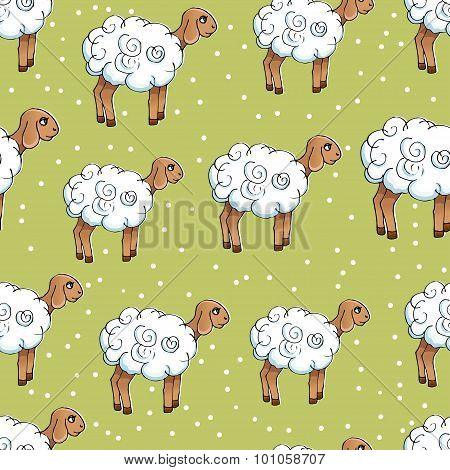 Seamless pattern with lambs on a green meadow.