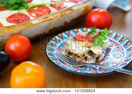 Moussaka Dish With Aubergine And Chili Pepper, Greek Meal