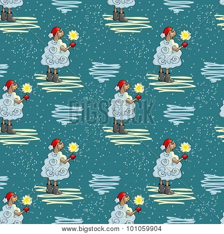 Winter seamless pattern with lambs.