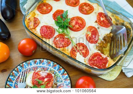 Greek Moussaka With Aubergines, Potatoes, Minced Meat, Tomatoes,