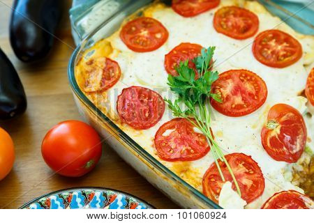 Moussaka With Potatoes, Minced Meat, Tomatoes, Onions