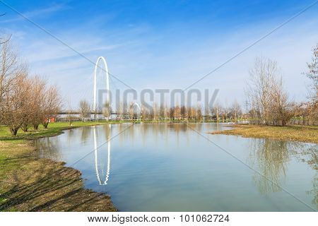 Landscape With Calatrava Bridges In Reggio Emilia