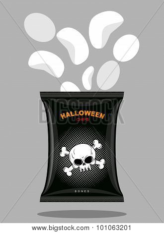 Chips With A Taste Of Bones. Snacks For Scary Halloween In Black Packaging. Pack Of Crisps With Skul