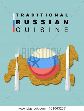 Traditional Russian Cuisine. National Dishes Of Dumplings. Meat Dumpling In Colors Of Russian Flag O