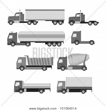 Vector set of trucks. Gray flat icons.