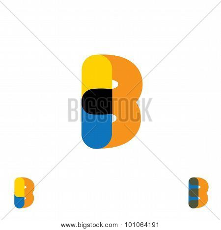 Abstract Letter B Logo Design Vector Template And Colorful Creative Character Icon Sign