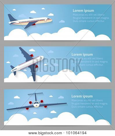 Set of web banners. Flight of the plane in the sky. Passenger planes, airplane, aircraft, flight, cl