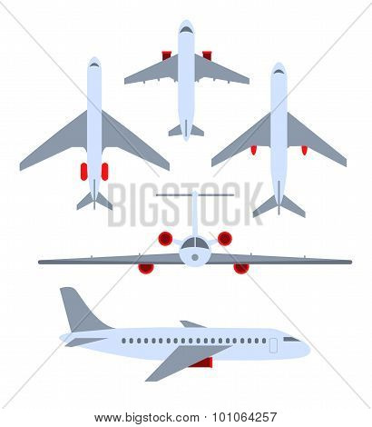 Vector set of planes. Passenger planes, the airplane, aircraft, weeds. Color flat icons. Vector illu