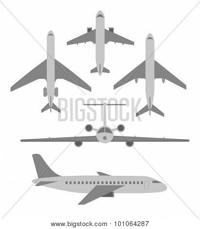 Vector set of planes. Passenger planes, the airplane, aircraft, weeds. Gray flat icons. Vector illus