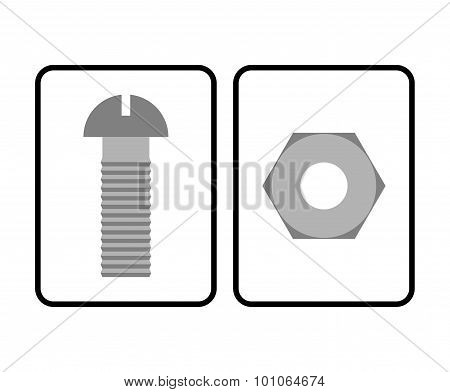 Man And Woman Restroom Sign. Toilet Sign Bolt And Nut. Humorous Allegorical Vector Illustration.