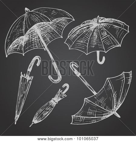 Drawing set of umbrellas. Umbrellas from a rain, female umbrella