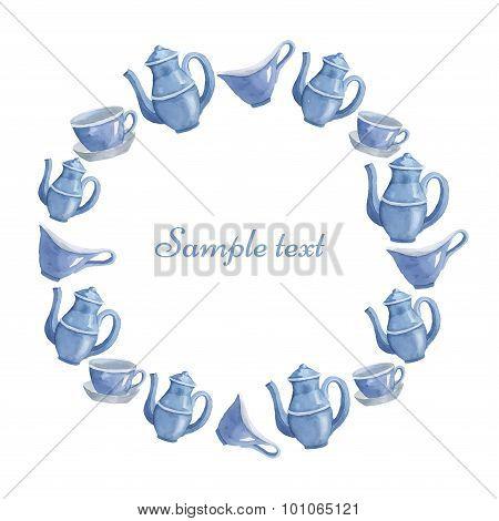 Template from ware. Teapot, cup, milk seller, sugar bowl. Vector