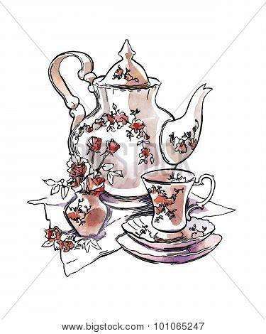 Sketch of tea sets.