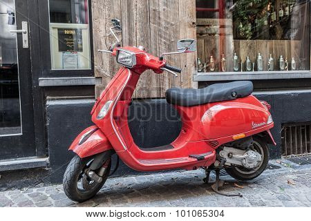 Red Italian Vespa Scooter