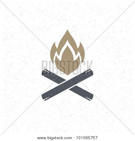 Bonfire flame Design Element in Vintage Style for Logotype