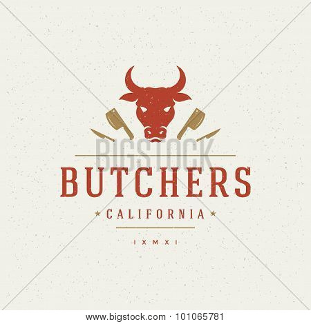 Butcher Shop Design Element in Vintage Style for Logotype