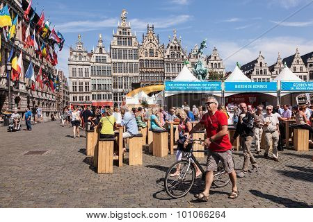 Great Market Square In Antwerp, Belgium
