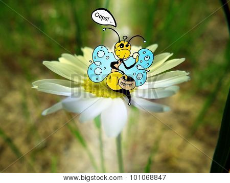 Combination of drawing and pictures - Bee eating nectar on a camomile