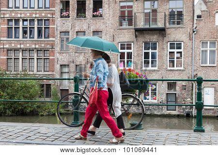 People With Umbrella In Ghent, Belgium